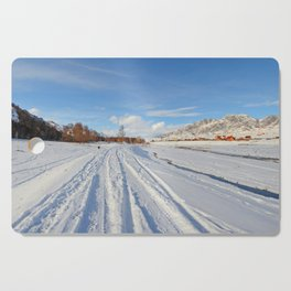 winter panorama of the village Cutting Board