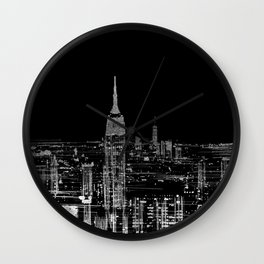 Contemporary Elegant Silver City Skyline Design Wall Clock