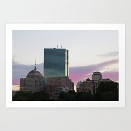 Boston CityScape Pink Sunset Art Print