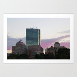 Boston CityScape Pink Sunset Art Print