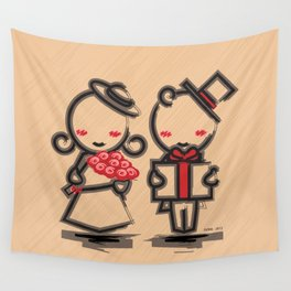 Lovely Couple in 4 Colours Wall Tapestry
