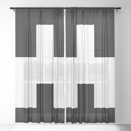 The Baxter's balaclava glyph on Black Mirror Sheer Curtain