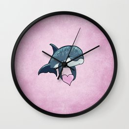 Love Ya! ~ Baby Dolphin by Amber Marine ~ Pink ~ (Copyright 2014) Wall Clock