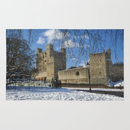 Rochester Castle in Snow Rug