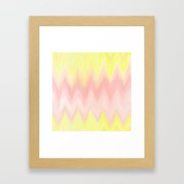 Geometrical blush pink yellow watercolor ikat pattern Framed Art Print