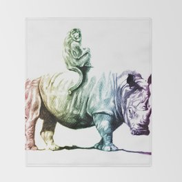 Golden Monkey on a Rainbow Rhino by Aaron Bir Throw Blanket