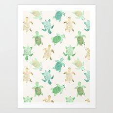 Gilded Jade & Mint Turtles Art Print