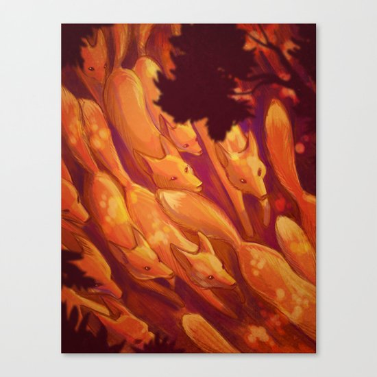 FLIGHT OF THE FOXES Canvas Print