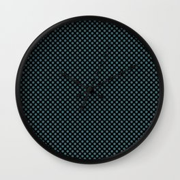 Black and Hydro Polka Dots Wall Clock