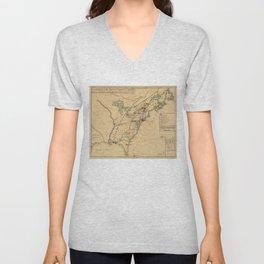 Vintage British Occupation Map of America (1765) Unisex V-Neck