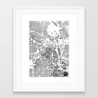 los angeles Framed Art Prints featuring LOS ANGELES by Maps Factory