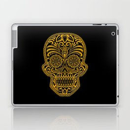 Intricate Yellow and Black Day of the Dead Sugar Skull Laptop & iPad Skin