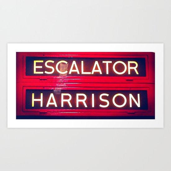 Red Escalator Art Print