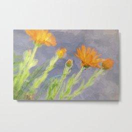 Impasto Garden - Orange Marigolds Metal Print