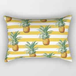 Pineapples Yellow Stripes Chic Beach Rectangular Pillow