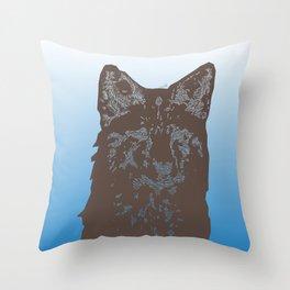 Fox Woodcut Throw Pillow