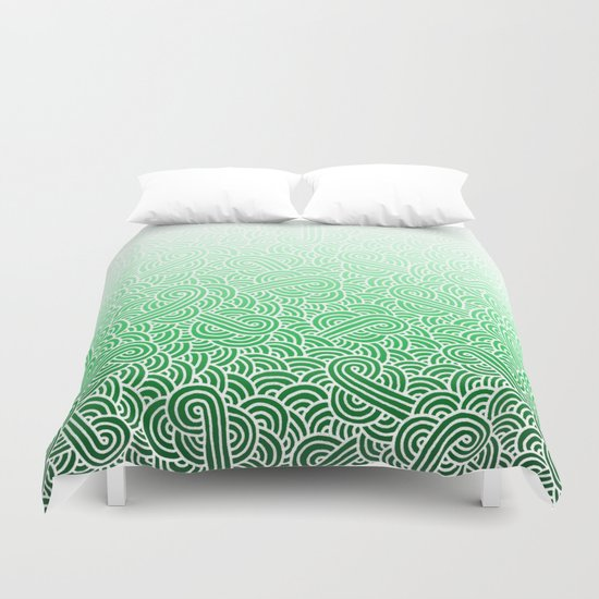 Ombre green and white swirls doodles Duvet Cover