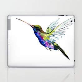 Flying Hummingbird, Blue green wall art minimalist bird Laptop & iPad Skin