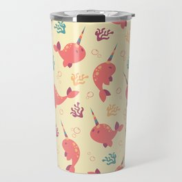 To the Window to the Narwhal - Coral & Cream Travel Mug