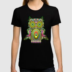 Owl Psychedelic Art Design Black X-LARGE Womens Fitted Tee