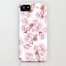 Modern pink blush purple pastel watercolor elegant floral iPhone Case