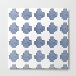 Chambray Cross Pattern Metal Print