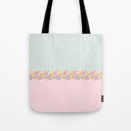 Vintage green pastel pink yellow floral polka dots Tote Bag