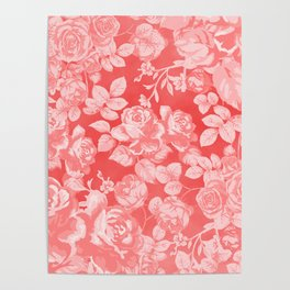 Living coral pink watercolor country chic floral Poster