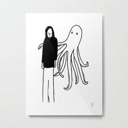 Octopus Hug Metal Print
