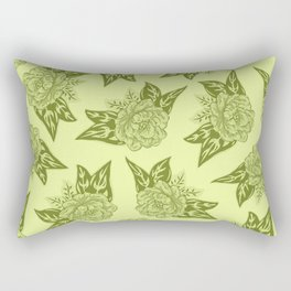 Cabbage Roses in Chartreuse Rectangular Pillow