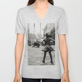 Fearless Girl & Bull - NYC Unisex V-Neck