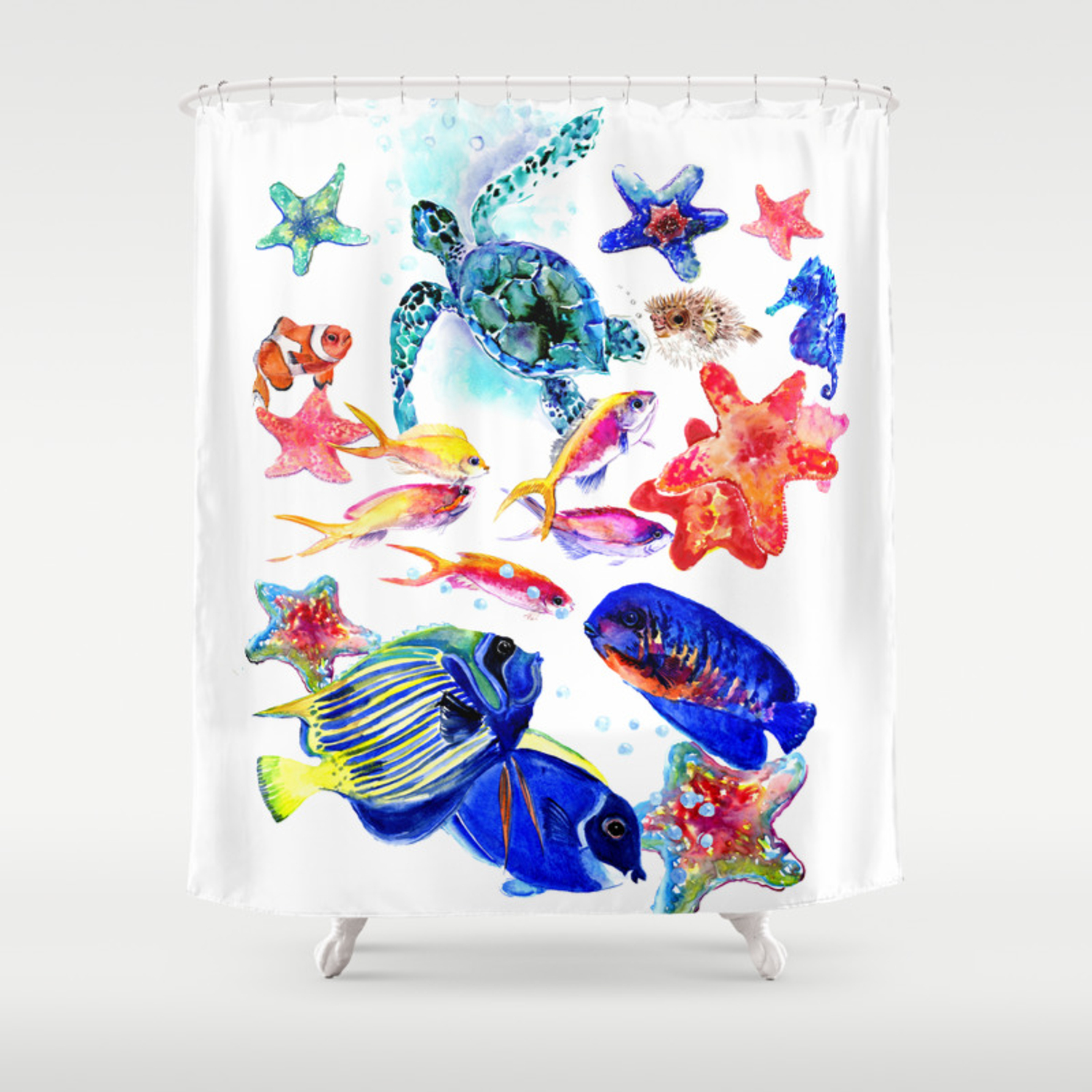 Sea World Underwater Scene Coral Sea Beach Tropical Ocean Sea Beach House Design Shower Curtain