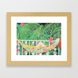 Woman in Hammock, reading a book, watercolor painting Framed Art Print