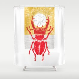 Red stag facing a golden sky Shower Curtain
