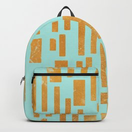 Abstract Bamboo Turquoise Gold Mid-Century Backpack