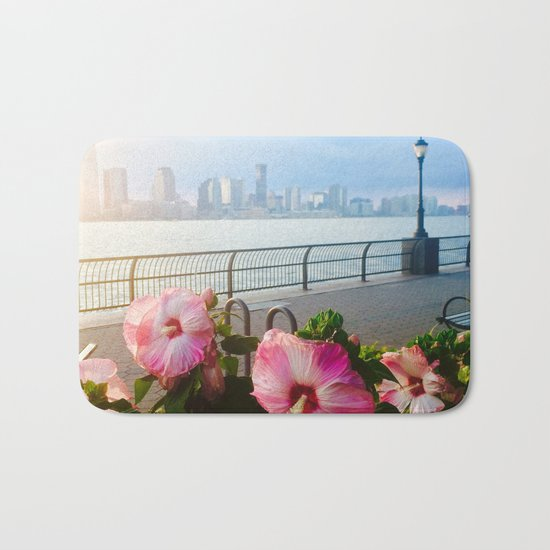Battery Park New York City Skyline with Pink Hibiscus Flowers Bath Mat