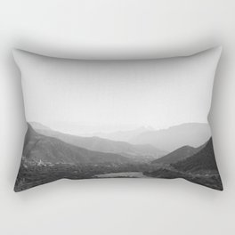 Black and white Atlas Mountains of Ourika Morocco Rectangular Pillow
