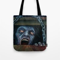 evil dead Tote Bags featuring THE EVIL DEAD by chris zombieking