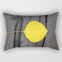 Water Droplets on Aspen Leaf Rectangular Pillow