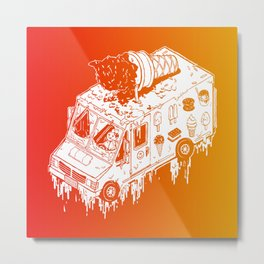 Melty Ice Cream Truck - sherbet Metal Print
