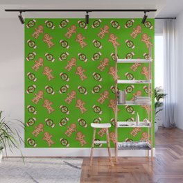 Cute lovely decorative green winter Christmas pattern. Gingerbread men and candy. Wall Mural