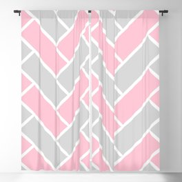 Chevron Pattern Pink and Grey #pink Blackout Curtain