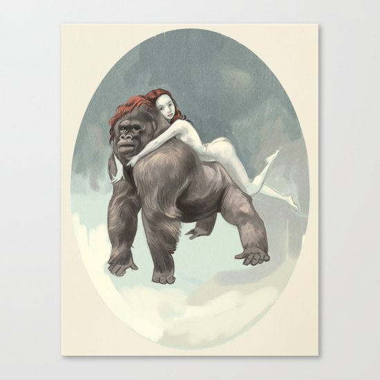 Gorilla and savage Canvas Print