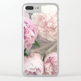 Shabby Chic Pastel Pink Peonies Wall Art - Peonies Home Decor Clear iPhone Case