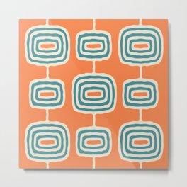 Mid Century Modern Atomic Rings Pattern 252 Turquoise Orange and Beige Metal Print