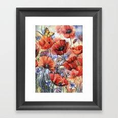 watercolor poppies Framed Art Print