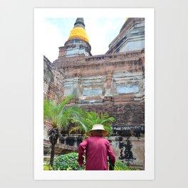 The unseen man   caretaker of temple Art Print