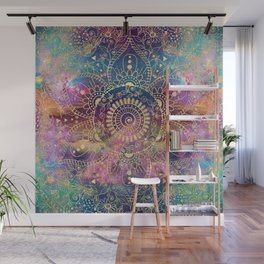Gold watercolor and nebula mandala Wall Mural