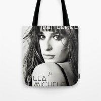 battlefield Tote Bags featuring Lea Michele-Battlefield-Photo by Jessie Bouyea
