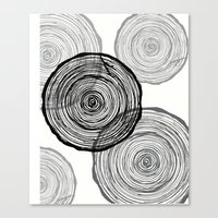 tree rings Canvas Prints featuring rings by Claire Rose Kleese